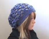 Perfection Slouch - Open Stitch Rasta Slouch Hat - in Dusky Denim Blue - All Season Slouchy Beanie for Women Girls Teens - Ready 2Ship