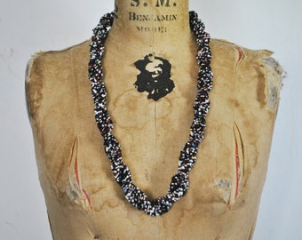 BRAIDED Beaded Necklace / southwestern