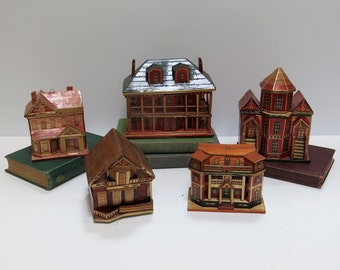 Balsa & Straw Houses Meow Reo 1970s Removable Roofs Hangers Vintage Handmade Set of 5