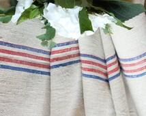 R 264 antique hemp linen roll SUMMER RED and BLUE grain sack fabric 6.770 yards wedding decor lin 20.47wide