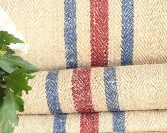 R 397 antique hemp linen RED BLUE upholstery 14.20yards handloomed benchcushion 캔버스 자루 Beachhouse 22.05 widelook
