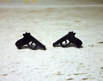 Mini Black Gun Stud Earrings