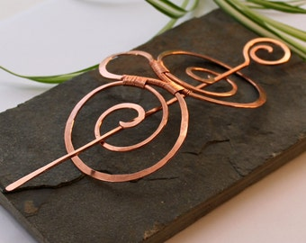 Double Spiral Hair Barrette - Smooth Copper - Hair clip