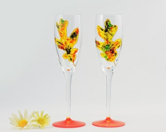 Fall champagne glasses - Set of 2 hand painted flutes - Autumn Leaves Collection
