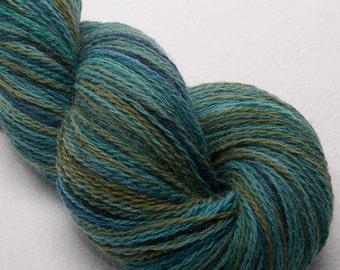 Hand dyed Alpaca Lambswool yarn, Teal, Wool, 2ply, Scottish yarn, soft lush yarn,  skein, Colour; Reedbed