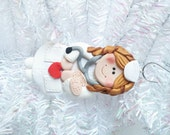 Polymer Clay Christmas Ornament - Nurse Gift - Nurse Christmas Ornament  -  Female Nurse Ornament - Polymer Clay Nurse Ornament  -  9815