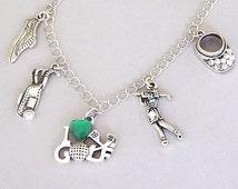 Fancy golfer necklace or golfer bracelet, golfing charm necklace or golfing charm bracelet, rhinestones, love to golf, antiqued silver