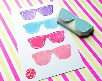 sunglass stamp. stay cool hand carved rubber stamp. glasses stamp. eyewear stamp. summer crafts. birthday scrapbooking. diy gift wrapping