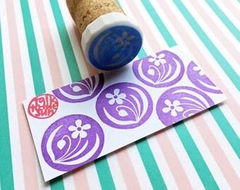 flower hand carved rubber stamp. woodland garden stamp. diy wedding birthday mother's day scrapbooking. spring holiday crafts. mounted