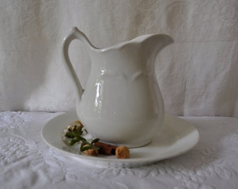 Pure White Vintage Ironstone Pitcher on Ironstone Plate/Shabby Chic Decor