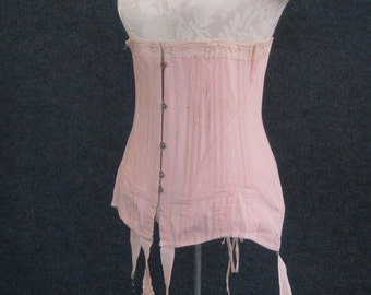 Vintage Antique Corset w/ Stocking Garters, Victorian Edwardian Tea Rose Pink Cotton Coutil, Steel Boned, Front Hook Back Laced, 28 Waist