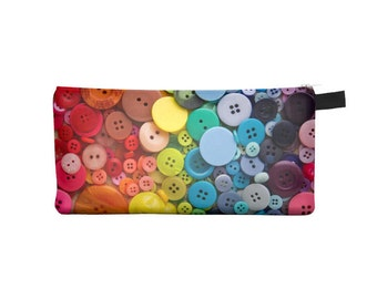 Rainbow buttons Pencil Case - Free shipping USA and Canada