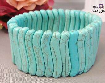 Large Turquoise Colored Howlite Gemstone Stretch Cuff Bracelet, Unique Handmade Jewelry for Women, Trendy Popular Jewelry Gifts for Her