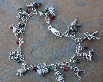 Twelve days of Christmas bracelet - 12 pewter charms, red and green Swarovski crystals on sterling silver chain- free shipping in USA
