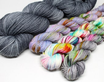 Shawlette Pattern Kit - Hand Dyed Sock Yarn - Sumptuous Sock Kit - City Streets Shawlette
