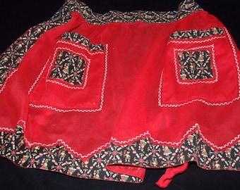 Sheer Red Half Apron w/ Black PA Dutch Trim & 2 Pockets