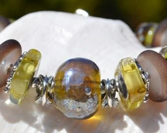 MOSSY MEADOWS-Handmade Lampwork and Sterling Silver Bracelet