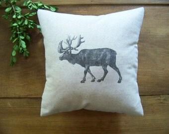 vintage style reindeer pillow - christmas pillow - gray - natural - linen - antique