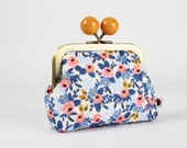 Metal frame coin purse with color bobble - Rosa in periwinkle - Color dad / Japanese fabric / Rifle Paper Co. / Les Fleurs
