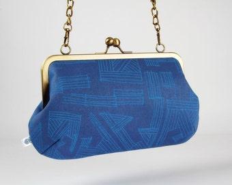 Metal frame purse with shoulder strap - Drawings in Cadet - Little handbag / Euclid / Carolyn Friedlander