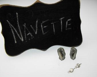 MINI GEODE 00561-630j navette green precious gemstone earring set diy kit w cz ss connectors tiny little baby quartz drusy pre drilled pair