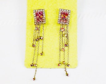 Silver Tone Pink & Clear Crystals Long Post Earrings