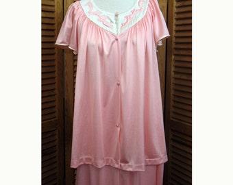 Vintage Vanity Fair Pink Satin Lingerie Sleepwear Pajama Set