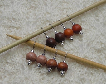 knitting stitch markers assorted modern wood beads - snag free - men knit too - brown wood silver - set of 8 - three loop sizes available