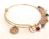 Personalized Birthstone Family Tree Bracelet, Gold Mom Bracelet, Mom Jewelry, Family Tree of Life Jewelry, Grandma Jewelry Mother's Day Gift