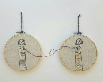hand embroidered art  hoop art - the connection textile art  fiber art