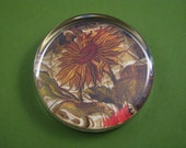Yellow Sunflower Embroidered Coverlet Large Round Glass Paperweight English Embroidery