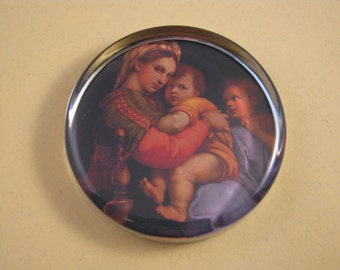 Raphael's Madonna of the Chair Large Round Glass Paperweight Renaissance Religious Decor