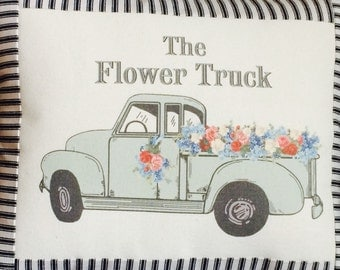 Vintage Green Chevy Pickup Truck Farmhouse Pillow, Farmhouse Throw Pillow Cover, Cottage Style Pillow