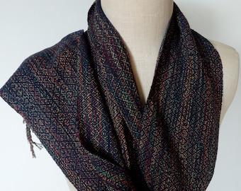 Handwoven Scarf Multicolor Cotton and Navy Silk Beautiful Diamonds