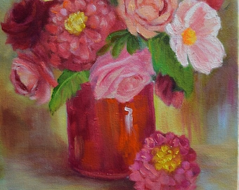Reds And Pinks Floral Still Life Painting, 9x12 Original Oil On Canvas Painting by Cheri Wollenberg
