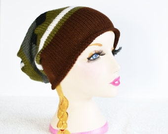 Knitted Slouch Hat, Slouchy Beanie,  Dread Hat, Vegan Hat, Mens Hat, Womens Hat
