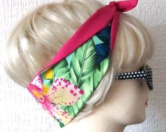 Hawaiian Hair tie in Mint Tropical Orchid Head Scarf Band Wrap by Dolly Cool Tiki Aloha