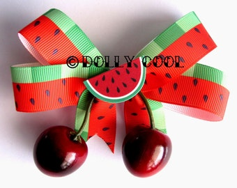 Watermelon & Cherry hair bow with realistic lifelike juicy cherries by Dolly Cool with melon slice