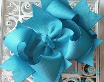 New Item----Boutique Big Triple Layered Hairbow Nylon Headband---TURQUOISE