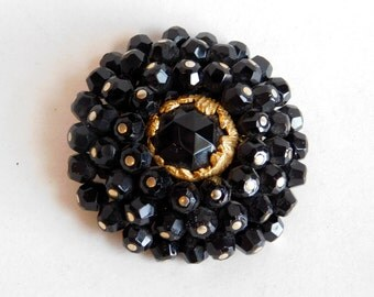 Vintage Black Glass Bead Cluster Brooch - Mid Century Goldtone Stylized Flower Pin - Large Round Brooch w/ Faceted Beads - 1950s-60s Pinh