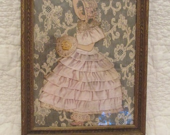 Vintage Ribbon and Lace Girl Picture with wonderful wood frame SALE