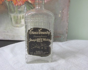 Antique Cross Country Pennsylvania Rye Whiskey Bottle with Checkered Design
