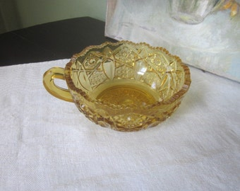 Early American Pressed Glass Nappy Bowl in Gold