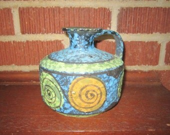 Vintage Mid Century Modern Italian Art Pottery Blue Green and Orange Vase