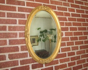 Antique Edwardian Gorgeous Ornate Wood and Gesso Hanging Oval Beveled Wall Mirror