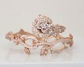 Rose Gold bracelet, Crystal Bridal bracelet, Wedding jewelry, Crystal bangle bracelet, CZ bracelet, Flower bracelet, Crystal bracelet