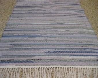 Handwoven Lavender Rag Rug 25 x 43