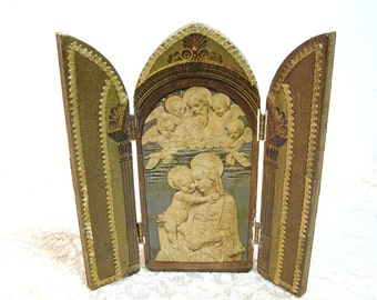 Vintage Christian Icon, Trifold Wood Picture