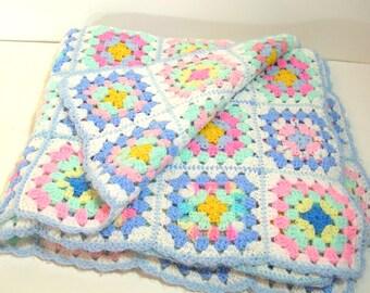 Vintage Pastel Granny Squares Baby Afghan, Crocheted Baby Blanket
