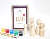 Fair Trade DIY Wooden Peg Doll Kit // Kids Complete Art Craft Kit // Kids Birthday Gift - party favor handmade craft kit